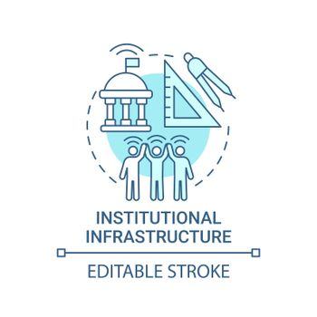 Institutional infrastructure blue concept icon