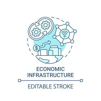 Economic infrastructure blue concept icon