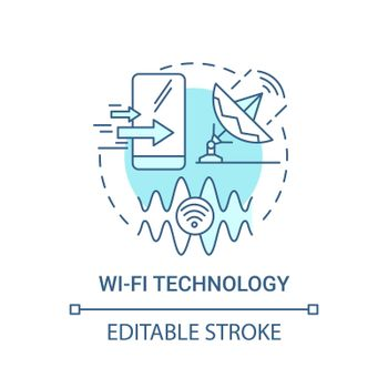 Wi-fi technology blue concept icon