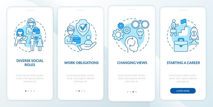Starting a career onboarding mobile app page screen