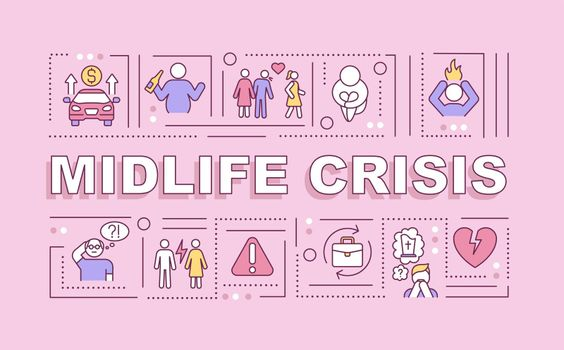 Midlife crisis word concepts banner