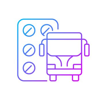 Pills for motion sickness gradient linear vector icon
