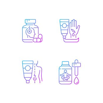 Survival first aid kit gradient linear vector icons set