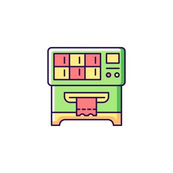 Lottery ticket vending machine RGB color icon