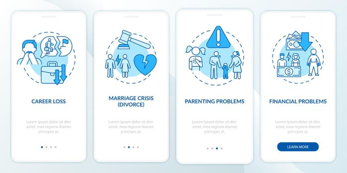 Financial problems onboarding mobile app page screen