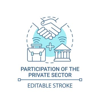 Participation of private sector blue concept icon