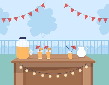Cocktail party venue flat color vector illustration