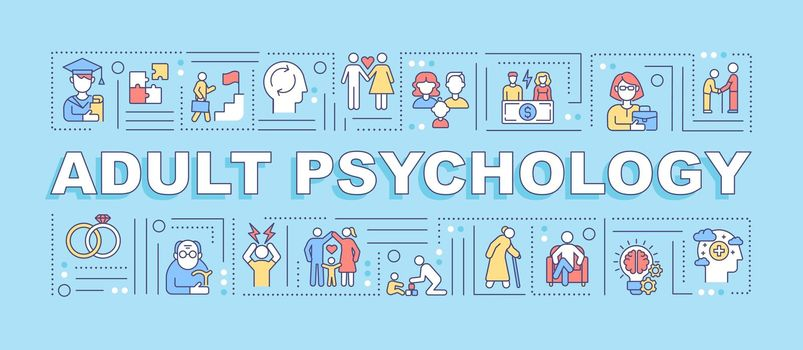 Adult psychology word concepts banner