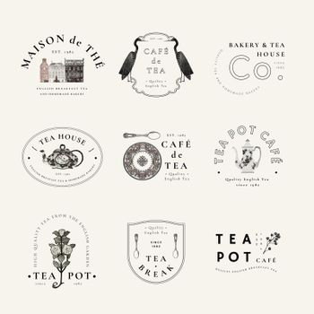 Aesthetic badge template vector for cafe set, remixed from public domain artworks