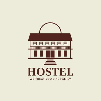 Editable hotel logo vector business corporate identity for a hostel