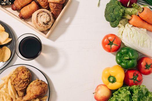 Choosing between Fruits and Sweets. Healthy versus unhealthy food.