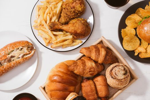 Fast food. Street and Takeaway food - Unhealthy food concept