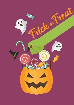 Green zombie hand holding halloween pumpkin basket poster