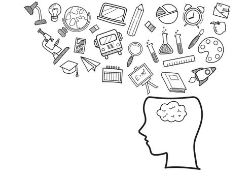 Human head with education doodles icons
