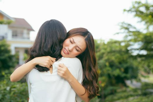 Friendship help support and difficult times concept. Human emotions feelings