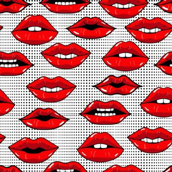 Seamless pattern with red lips in pop art style on abstract background with dots. Beauty repeated backdrop. Girlish wallpaper. Dots and kiss lips. Colorful cartoon style.Desing for textile, clothes.