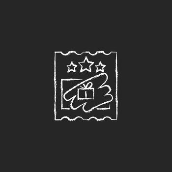 Scratch cards chalk white icon on dark background