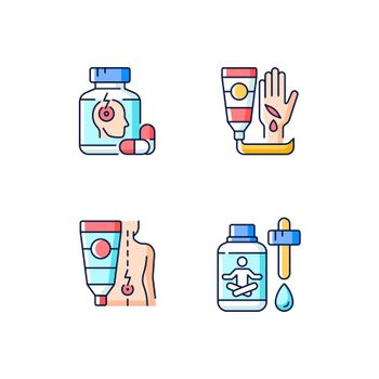 Survival first aid kit RGB color icons set