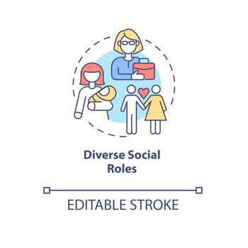 Diverse social roles concept icon