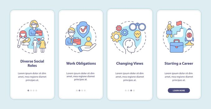 Social roles onboarding mobile app page screen