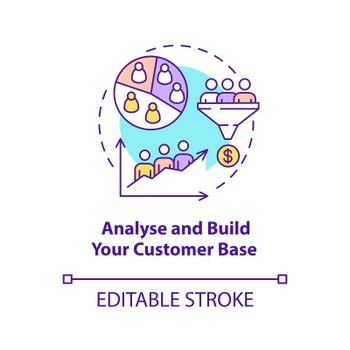 Analyse and build customer base concept icon