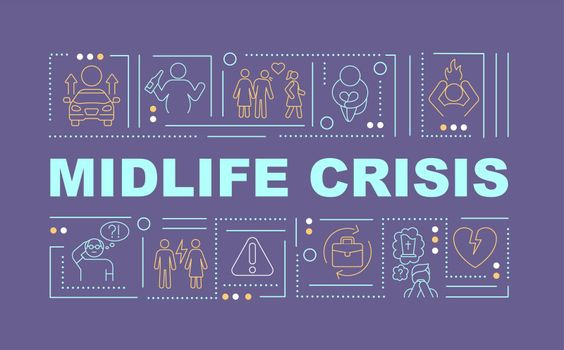 Midlife crisis prevention word concepts banner