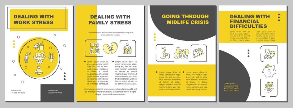 Going through midlife crisis brochure template