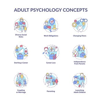 Adult psychology concept icons set