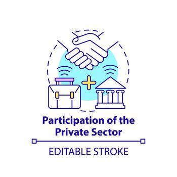 Participation of private sector concept icon