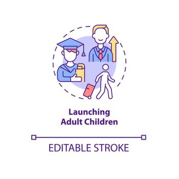 Launching adult children concept icon