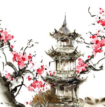 Blossom sakura and pagoda building