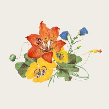 Vintage spring flower vector illustration, remixed from public domain artworks