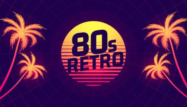 80s retro tropical gradient background
