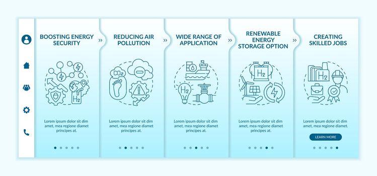 Hydrogen tech revolution onboarding vector template
