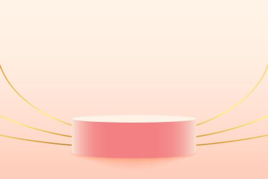 pastel color podium with golden lines background