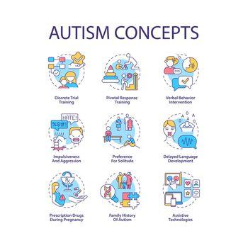 Autism spectrum disorder concept icons set