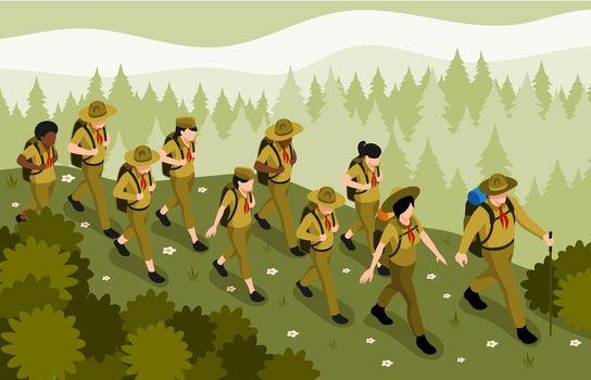 Scout Hiking Isometric Illustration