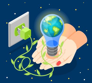 Isometric Earth Hour Composition