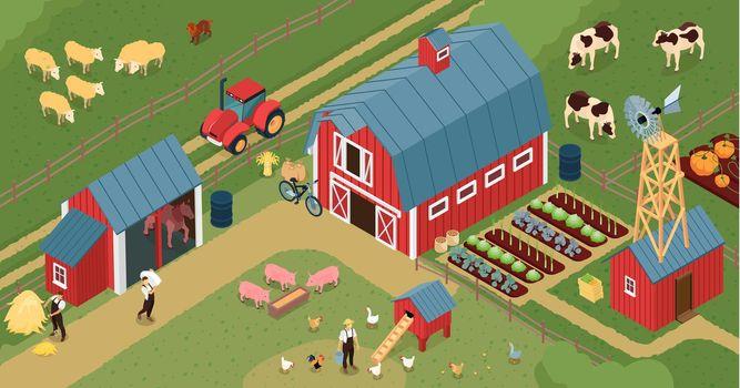 Farm Barnyard Isometric Composition
