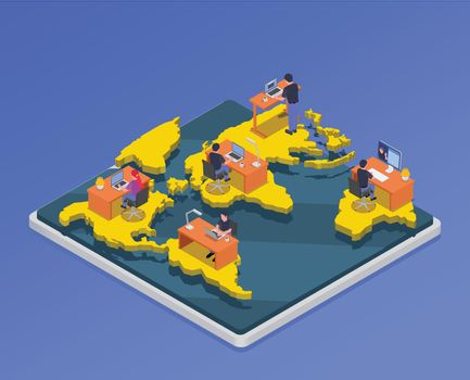 Remote Workers Isometric Illustration
