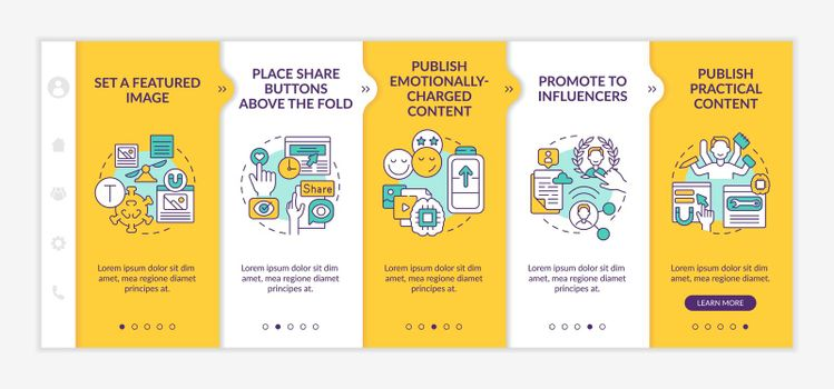 Create magnetic content tips onboarding vector template