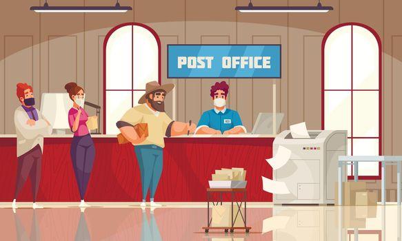 Post Office Queue Cartoon Composition