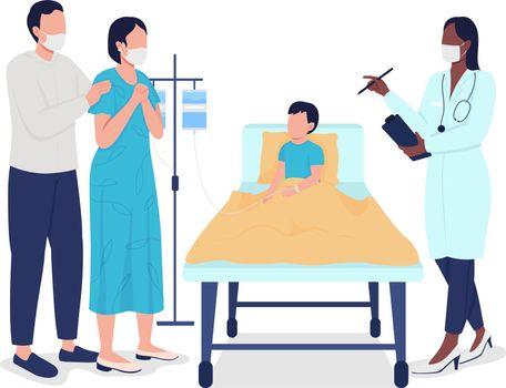 Child hospitalization semi flat color vector characters