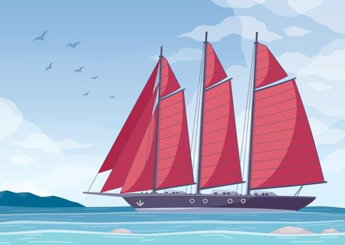 Red Sail Yacht Composition