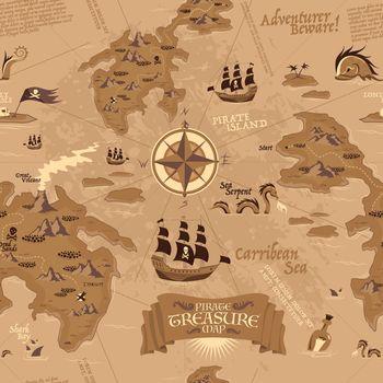 Pirate Map Seamless Pattern