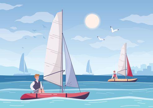 Yachting Hobby Cartoon Composition