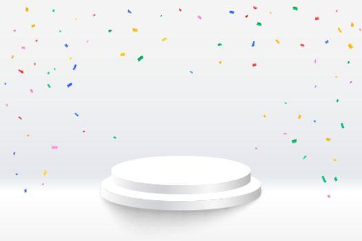celebration confetti with podium platform on white background