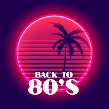 back to 80s retro neon paradise background