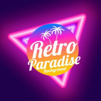 retro paradise neon background design