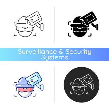 Criminal detection with surveillance camera icon